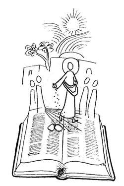 Illustrazione di Cristo che semina sulle pagine del Vangelo