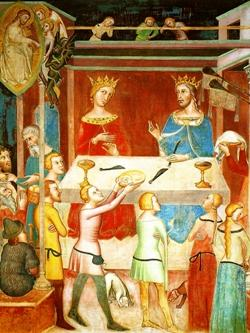 Il demonio ottiene da Dio di tentare Giobbe, Duomo di san Gimignano