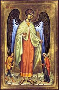 """""""La notte delle nozze l'arcangelo Raffaele gli suggerisce cosa fare per proteggersi dal terribile demone: non dimenticarsi di Dio, essere con lui anche nell'amore carnale"""" - Immagine: Icona dell'Arcangelo Raffaele che protegge Tobia e Sara"""