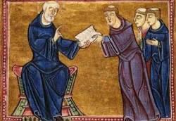 San Benedetto consegna la regola a San Gregorio Magno e altri monaci