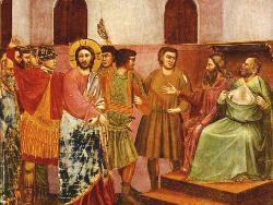 Giotto, Gesù dinanzi a Caifa