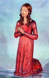 Artista della scuola senese del XIV secolo, Giovane donna in preghiera