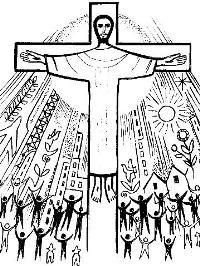 Disegno di Cristo crocifisso che attira la folla