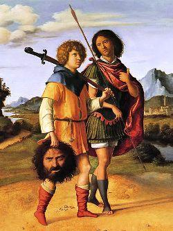 Cima da Conegliano, Gionata e David con la testa di Golia