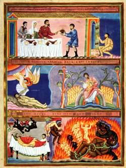 Lazzaro ed il ricco Epulone, illustrazione dall'Evangeliario di Echternach