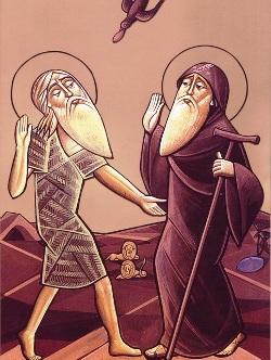 Icona di San Paolo Eremita e sant'Antonio Abate
