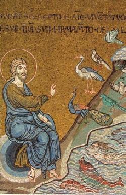 Particolare del mosaico del duomo di Monreale in cui Gesù crea gli uccelli